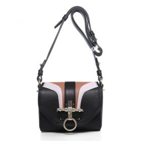 Chic Givenchy Obsedia Turnlock & Ring Design Womens Small Black Original Calfskin Leather Colorful Flap Bag