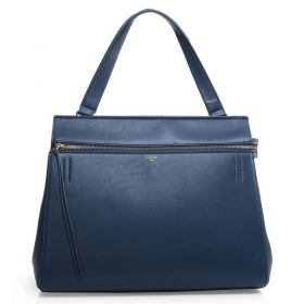 Ladies Blue Celine Edge Original Leather Yellow Brass Zipper Closure Top Handle A-Shape Shoulder Bag Replica