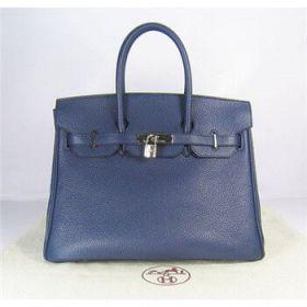 Hermes Birkin 35cm Dark Blue Togo Leather Handbag Silver Buckle Business Trip Price List UK