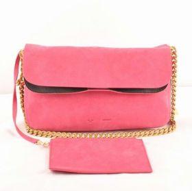 2018 Latest Celine Gourmette Peach Suede Leather Flap Brass Chain Crossbody Bag With Detachable Zipper Handbag