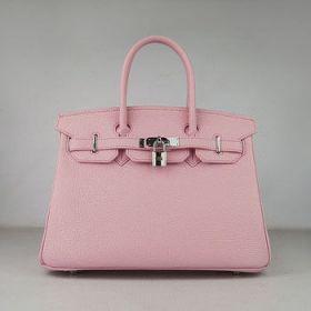 Hermes Birkin 30cm Pink Togo Leather Handbag Silver Buckle Street Style Paris Online Shop
