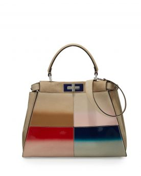Fendi Peekaboo Nude Gradient Stitching Style Medium Tote Bag Silver Turn Lock Women Best Review