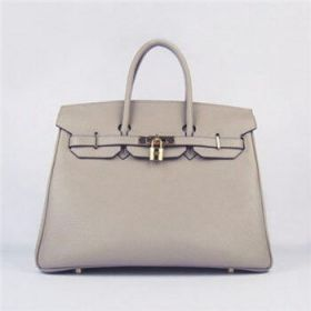 Hermes Birkin Grey Togo Leather Handbag Golden Lock Buckle 35cm Sale Online US