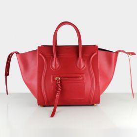 Latest A-Shaped Celine Luggage Phantom Yellow Brass Hardware Braided Tassel Trimming Red Cowhide Womens Handbag