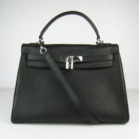 Dupe Hermes Kelly 32cm Black Togo Leather Handbag Silver Lock Business Style Female Lawyer