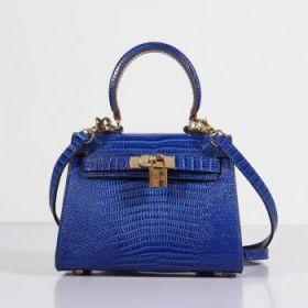 Top-end Imitation Hermes Kelly Electric Blue Lizard Leather Bag Golden Buckle 20cm Evening Party Women