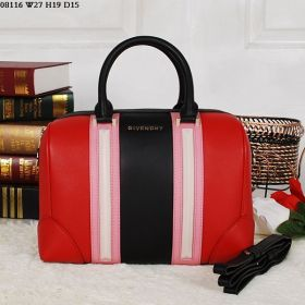 Givenchy Lucrezia Leather Trimming Zipper Top Ladies Red Tote Bag With Pink & Black Detail Replica