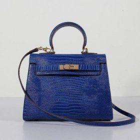 Hermes Kelly Electric Blue Lizard Leather 28cm Bag Gold-plated Lock Buckle Shoulder Belt Price France