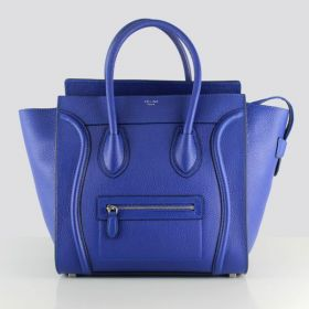 Cheapest Celine Luggage Silver Hardware Triangle Gussets Ladies Large Neon Blue Litchi Leather Purses