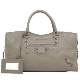 Balenciaga Giant 12 Ladies Latte Lambskin Rose Gold Zipper Pocket Part Time Top-handles Shoulder Bag 43CM