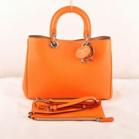 Christian Dior Diorissimo  Warm Orange Leather Medium Bag Golden Logo Charms Good Reviews