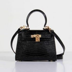 Hermes Kelly Black 20cm Lizard Leather Bag With Strap Gold-plated Lock Buckle Shopping Girls