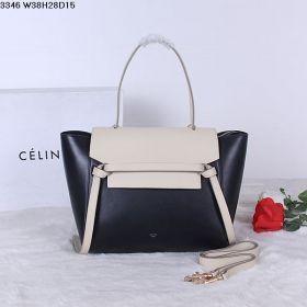 Good Price Celine Belt Flat Handle Slip-over Flap Motif Ladies Black Cream Natural Calfskin Tote Bag