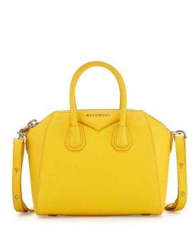 Imitation Best Sale Givenchy Antigona Mini Yellow Leather Detachable Shoulder Strap Womens Top Handles Satchel Bag