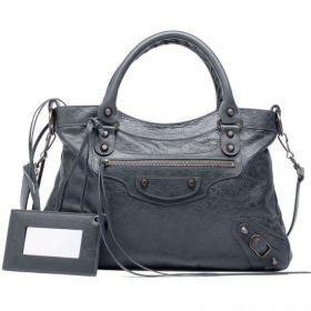 Winter Women's Balenciaga Classic Town Brass Studs Front Zipper Pocket Anthracite Lambskin Tote Bag Online