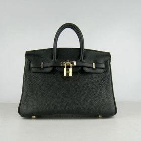 Hermes 25cm Birkin Women Handbag Black Cowhide Leather Golden Lock Business Trip LA Review Fake