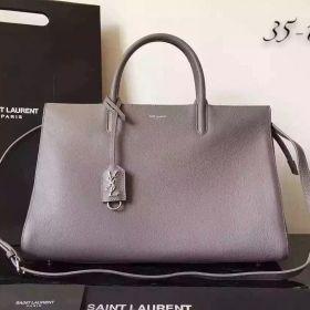 Saint Laurent Medium Rive Gauche Silver YSL Logo Key Pouch Grey Leather Handbag With Shoulder Strap