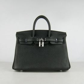 Hermes Birkin 25cm Black Leather Handbag Silver Lock Buckle Office Lady For Sale US