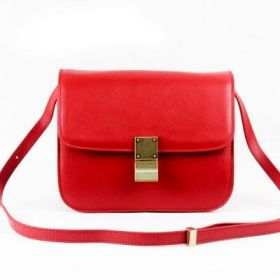 2016 Collection Celine Classic Box Medium Red Leather Brass Clasp Womens Flap Shoulder Bag