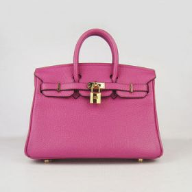Hermes Birkin 25cm Handbag Peach Cowhide Leather Gold-plated Buckle Lace Flap Celebrity Price America