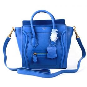 Fall & Spring Celine Small Luggage Wide Sides Front Zipper Pocket Cobalt Leather Ladies Tote Bag 168243AQL.07CO