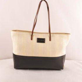 High-end Fendi Clone Pequin Black Leather Beige Striped Linen Popular Tote Bag Price Dubai