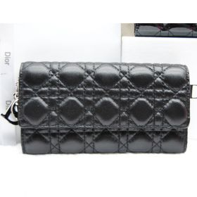 Replica Office Lady Dior  Cannage-pattern Leather Black Wallet Flap-over Style Silvery Logo Trims U.S.