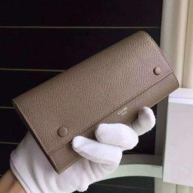Celine Womens Long Multifunction Brulee Epsom Leather Silver Logo Double-Snap Flap Wallet 101673AFE.09SO