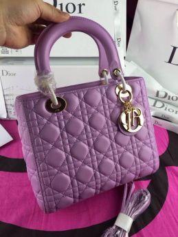 Replica Female Dior Purple Lady Dior  Roomy Cannage Texture Tote Bag  LA Trend 2018