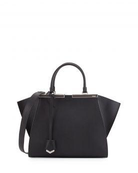 Fendi Trois-Jour Bicolor Tote Bag Black/White Leather Medium Shoulder Belt Cool Personalized Lady Malaysia