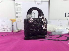 Vogue Dior Lady Dior Black Classy Cannage-Pattern Shoulder Bag  Dual-Tote ref CAL44551_M83B  Silver Hardware