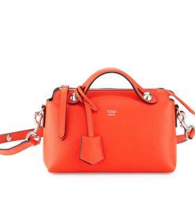 Fendi By The Way Mini Orange Leather Replica Satchel Bag Zipper Closure Party UK Sale