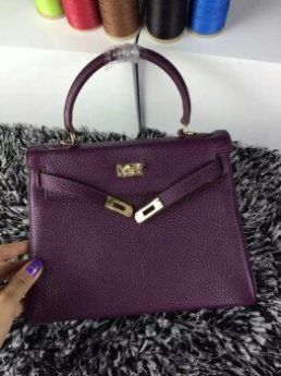 Hermes Kelly Purple Togo Leather Bag Golden Lock & Key 25cm Fashion Party 2018 Price Canada