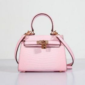 Hermes Kelly Pink Lizard Leather 20CM Bag Gold-plated Lock Buckle Shoulder Strap Party America