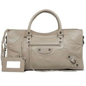 Balenciaga Female Part Time Leather Framed Detachable Mirror Old Brass Studs Latte Lambskin Tote Bag