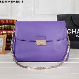 Modest Price Christian Dior Diorling Shoulder Bag Metal-Strap Purple Calfskin Tone Golden Buckle