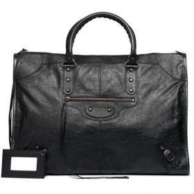 Latest Styles Balenciaga Classic Weekender Leather Tassel Zipper Pocket Buckle Trimming Womens Studs Tote Bag Black