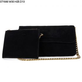 Hot Selling Celine Gourmette Demountable Pouch Bag Curved Base Ladies Chain Crossbody Bag Black Suede Replica