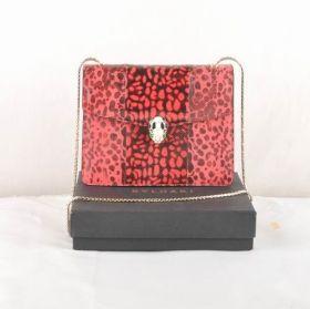 Good Reviews Bvlgari Serpenti Purplish Red Snake Veins Leather Golden Ladies Chain Strap Shoulder Bag Replica