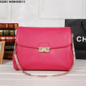 Christian Dior Diorling  Peach Outer Leather  Three Compartments Fold-Flap Shoulder Bag Metal-Chain Shoulder-Strap