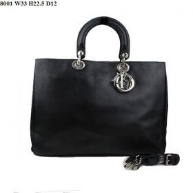 Christian Dior Fashion Diorissimo Inner Nappa-Texture Leather  Pouch Medium Black Tote Shoulder-Bag