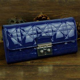 Christian Dior Royal-blue Cannage-design Leather Flap Long Wallet UK Office Women Golden Buckle