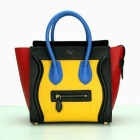 Most Fashion Celine Luggage Red Sides Yellow Brass Hardware Medium Colorful Leather Zipper Tote Bag