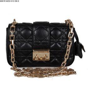 Miss Dior  Classy Black  Cannage-design Leather multi-Compartments Fold-Flap Shoulder Bag Golden Hardware