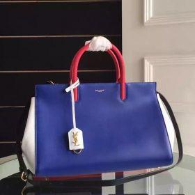 Women's Medium Saint Laurent Rive Gauche Exterior Back Slot Pock Top Handles Colorful Leather Handbag