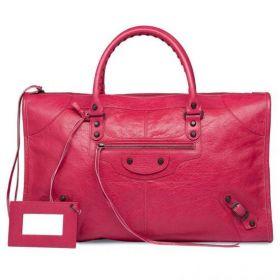 Balenciaga Best Selling Rose Thulian Lambskin Zipper Top Closure Leather Framed Mirror Ladies Fake Work Totes