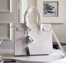Best YSL Sac De Jour White Croco Embossed Leather Pleated Side Womens Baby Tote Bag 421863DND1N9512