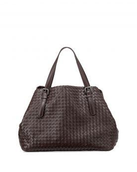 Bottega Veneta Cesta Large Womens Boxy Intrecciato Open Closure Top Handles Woven Leather Handbag Brown