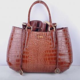 Low Price Fendi B Fab Large Coffee Crocodile Veins Leather Bag Noble Party