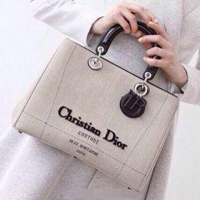 Christian Dior Lady Dior   Black Handlebars Grey  Linen Office Women Tote Bag  Australia Selling